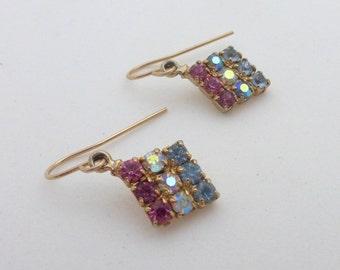 1950's Repurposed Vintage Rhinestone Crystal Diamond Drop Earrings