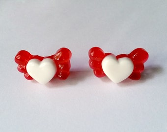 Red Winged Heart Stud Earrings - Kawaii Earrings Kawaii Jewelry Fairy Kei Jewelry Fairy Kei Earrings Pop Kei Jewelry 80s Fashion