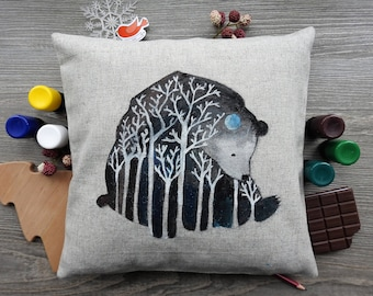 Hand-painted pillow with Bear forest-spirit.