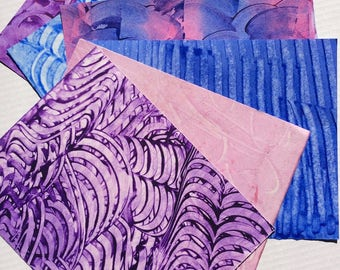 Paste paper. Hand decorated paper for all creative uses.  Blues and purple. Ref 1702