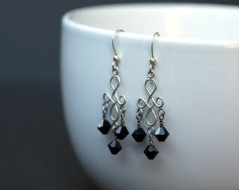 Jet-Black Swarovski Crystal and Sterling Silver Chandelier Earrings