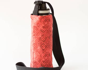 Red Large Water Bottle Holder, Fabric Water Bottle Sling, Crossbody, Red and Gray Cotton Fabrics, Handmade
