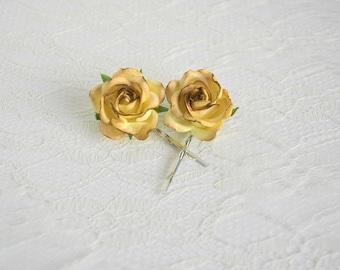 Rose Hair Pins, wedding hair accessories, bridal hair clips, yellow brown rose pins, flower hair clips, rose bobby pins, flowergirl, autumn
