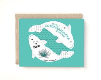 Pisces Zodiac Birthday Card The Fishes, Birthday greeting card February March Birthday, A2 Card