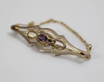 Edwardian Long Bar Brooch Yellow Metal with Amethyst Stone Lovers Knot Brooch