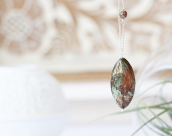 Green Opal Sterling Silver Necklace