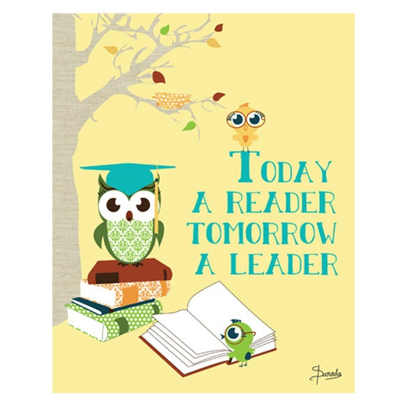 Owl Print Art for Kids Wall Decor Today a Reader