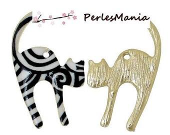 1 pendant POP ART cat black and white enameled (S1167172)