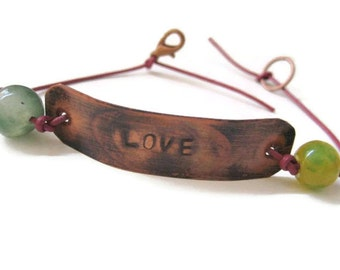 Copper LOVE Bracelet Rustic Handmade Jewelry Handcrafted Friendship Bracelet Stamped Leather Stone San California USA Bohemian Jewelry