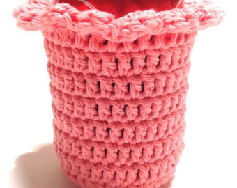 Strawberry Shortcake Crocheted Can Cover With Ruffle