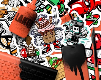 50 Promotional Stickers | Marketing Stickers, Full Color Stickers, Skateboard Stickers, Outdoor Stickers, Sticker Bomb, Custom Stickers