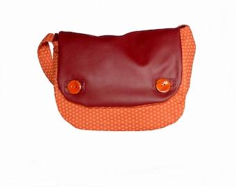 Shoulder bag Burgundy Red and orange
