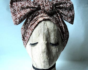 Brown Floral Cotton Land Girl Headwrap