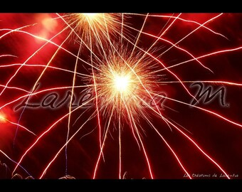 Photo red Fireworks 30X40cm star shape