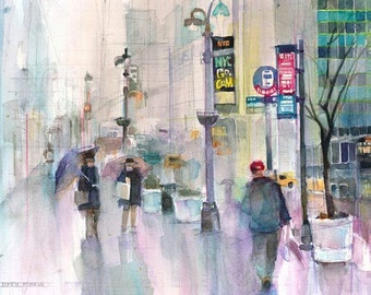 New York -  Original Watercolor Print -  Across from Grand Central Station
