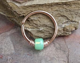 16g 18g 20g Rose Gold Hoop Beaded Mint Green Opal Hoop Earring Nose Hoop Nose Ring Cartilage Hoop Tragus Hoop