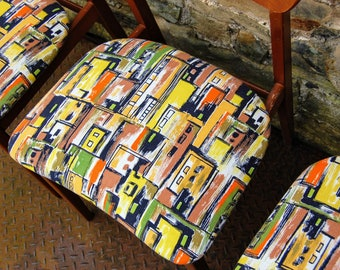 4 Fabulous Retro Dining Chairs with original RARE 1950's Barkcloth Upholstery/ Mid-century Style