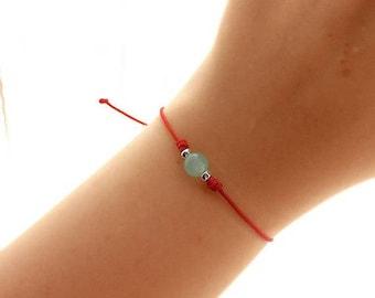 Red String Bracelet - Green Jade Bracelet - Best Friend Gift - Gemstone Bracelet - Yoga Jewelry - Good Luck Bracelet
