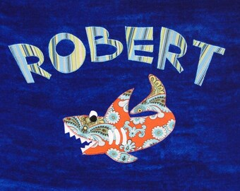 Personalized Large Royal Blue Velour Beach Towel with Shark, Kids Bath Towel, Pool Towel, Baby Towel, Camp Towel, Bridal Party Gift