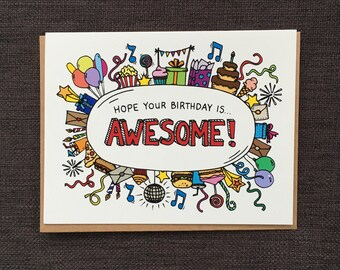 Awesome Birthday Card / Notecard / Blank Inside / FREE SHIPPING