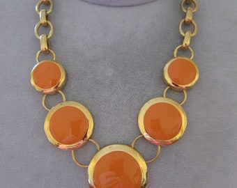 Gold tone Necklae with enamel Disks