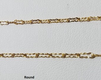 Gold Filled Krinkle Chain, Flat or Round, Pick your style and length.