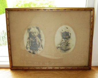 Adorable Framed antiques 19thc Photographs of Victorian Toddlers, cute Decor for a Baby's Room!