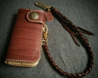 Handmade leather Wallet & Braided Set,biker wallet,Handmade Leather,long Wallet,Man Wallet,vegtan leather,Gift,Chain wallet,Trucker wallet