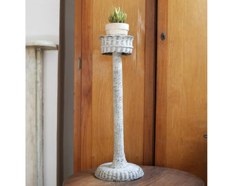 Vintage Wicker Plant Stand, White Woven, Shabby Chic, Farmhouse Decor
