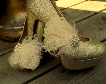 Wedding Shoe Clips, Bridal Shoe Clips, Feather Shoe Clips, Clips for Wedding Shoes, Bridal Shoes, Ivory, White, Black, ShoeClipsOnly