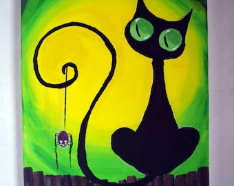 Canvas with acrylic Black cat with spider animal Original Painting Acrylic original Picture