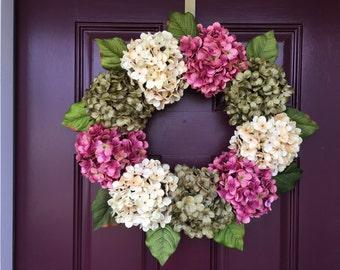 Spring Wreath, Mother's Day, Hydrangea Wreath, Summer Wreath, Front Door, Front Door Decor, Hydrangea, Housewarming Gift, Grapevine, Wreath