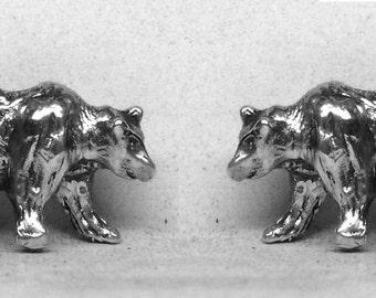 Bear Stud Earrings Sterling Silver Free Shipping