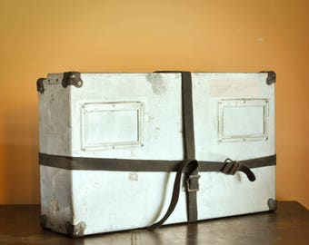 Vintage Industrial Tin  Metal Case with straps