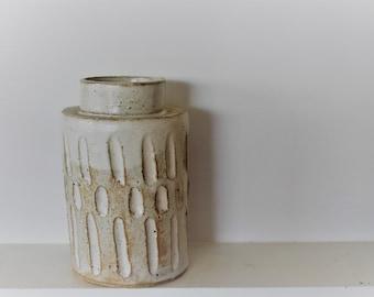 Handmade white ceramic wabi sabi vase