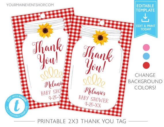 Country BabyQ BBQ Baby Shower Thank You Tags, Favor Tags, Printable Templett