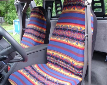 1 Set of Blue Artez Print  Seat Covers and Steering Wheel Cover Custom Made