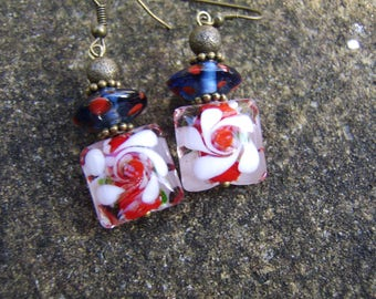 Lampwork Glass Earrings. Vintage Style Earrings. Bead Earrings. Beaded Earrings. Red, White And Blue Glass Earrings. Floral Earrings. Gift.