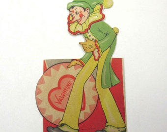 Vintage Unused Children's Novelty Valentine Greeting Card with Circus Clown Long Nose
