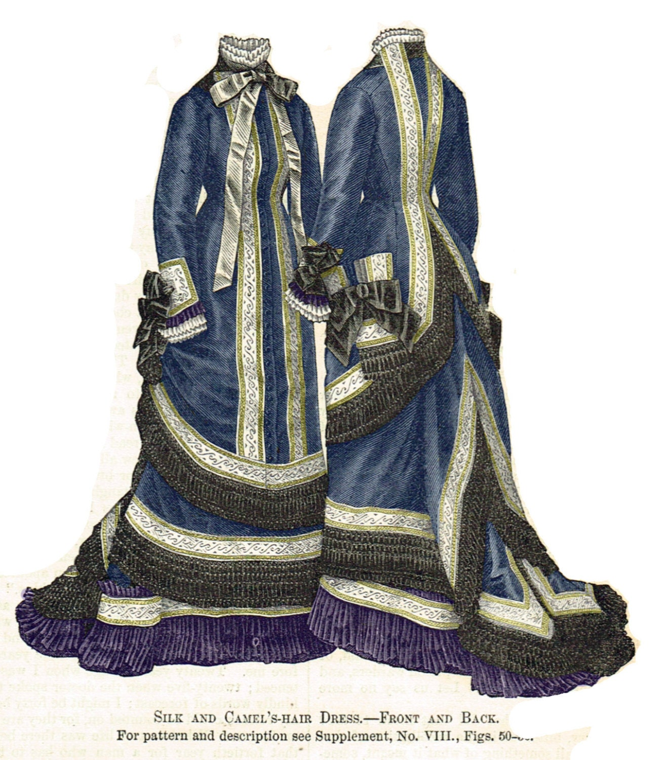 1876 Silk Dress Victorian Pattern sized for you from