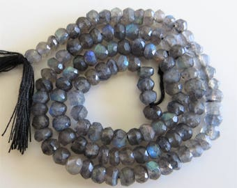 2mm - 3mm Faceted Labradorite Gemstone Rondelle Gemstone Beads - One Full Strand