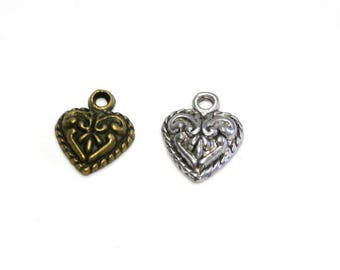Vintage Heart Charms 15mm - Antique Gold or Antique Silver (pack of 2)