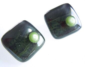 "Fused Glass Buttons, ""Rain Forest"", Art Button, greens, dark green, grass green, mottled, sewing button, knitting supplies, round, three"