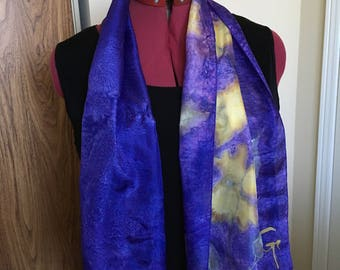 """Hand painted silk scarf purple and yellow neck scarf summer scarf rolled hem scarf hand made silk scarf 50"""" by 11"""""""