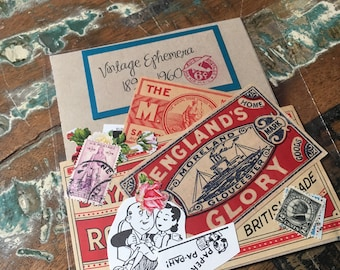 Vintage Ephemera Pack--Antique Matchbox Labels --Vintage Stamps