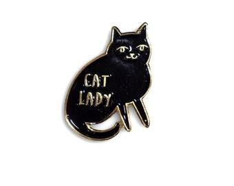 Cat Lady Enamel Pin - black enamel lapel pin