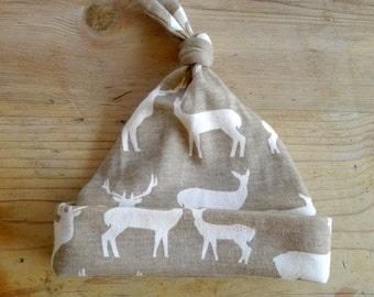 Organic Cotton Elk Hat, Rustic, Deer, Elk, Toddler, Beanie, Knot, Boys, Girls, Nature, Wildlife, Neutral, Newborn, Gift
