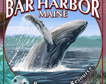 Bar Harbor, Maine - Wildlife Montage (Art Prints available in multiple sizes)