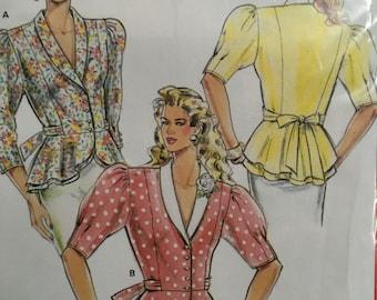 Sewing Pattern Vintage 1990s Burda 5462 feminine peplum shirt sz 8-18