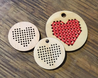 Heart Wooden Cross Stitch Pendant DIY